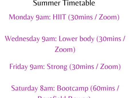 Fierce Fitness Summer Timetable