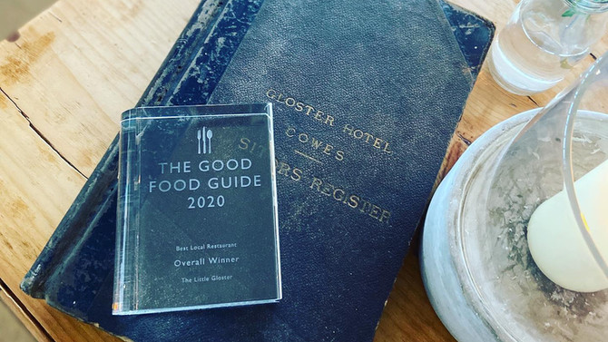 The Good Food Guide Award & The Gloster Hotel Guest Book