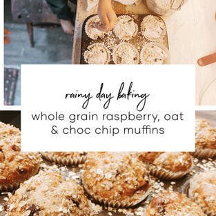 Whole Grain Raspberry, Oat & Choc Chip Muffins
