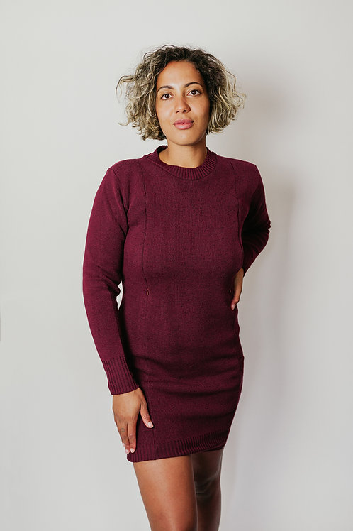 Burgundy Fleck Milano Knit Jumper Dress