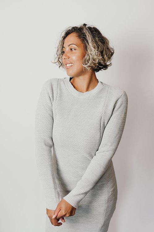 Mid-Grey Fleck Textured Knit Jumper Dress