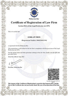 Certificate of Registration of Law Firm
