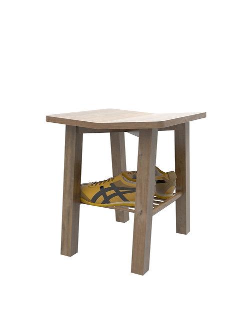 Butaco para el ingreso con superficie zapatero en madera roble