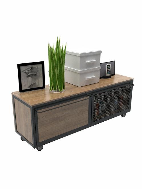 Mueble organizador modular en roble