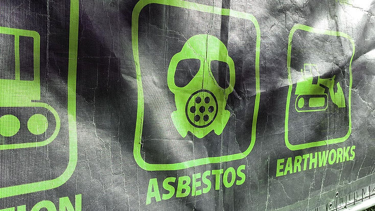 Asbestos sign with mask image on black background