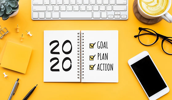 2020 new year goal,plan,action text on n