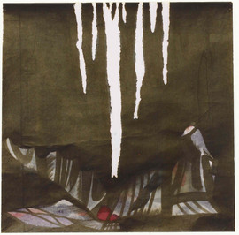 1988 77x77 l'oiseau, Black ink on korean paper 1988