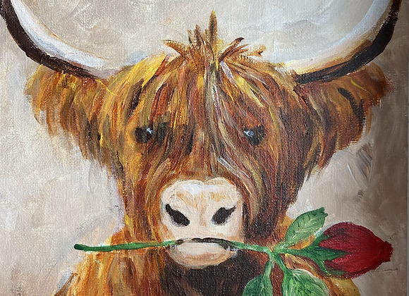 """Coo with a red rose - Acrylic on board  10 x 12"""""""