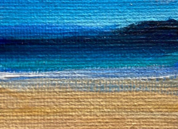 Luskentyre sunset(miniature) Acrylic on Canvas 5x7cm