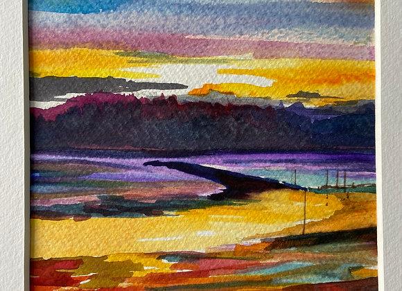 Kippford sunset - framed watercolour 13 x 13cm (image size)