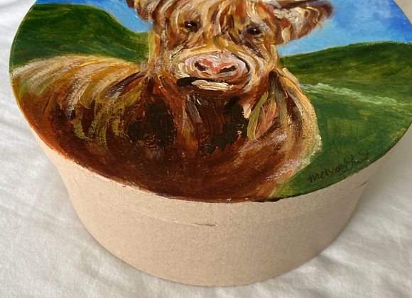 XL Hand Painted round cow gift box