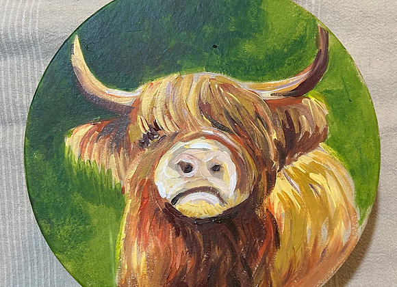 XXL Hand Painted Round Highland Cow Gift box