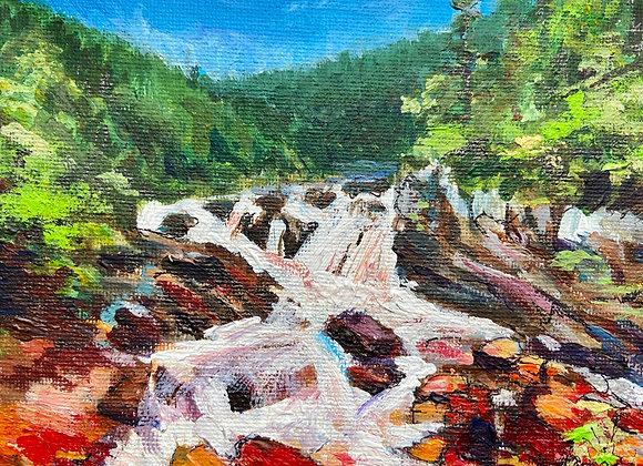 Rogie Falls - Acrylic on canvas - 12 x 16 cm