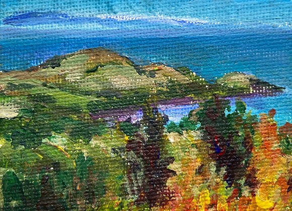 Across the Solway from Muckle Hill (miniature) - Acrylic on canvas 7x7cm