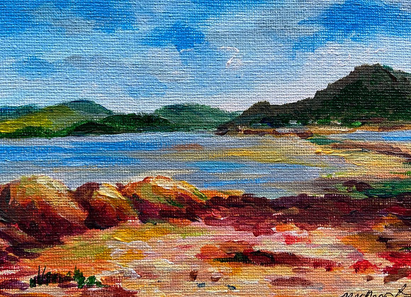 Blustery afternoon from Rough Island - Acrylic on canvas - 13 x 18 cm