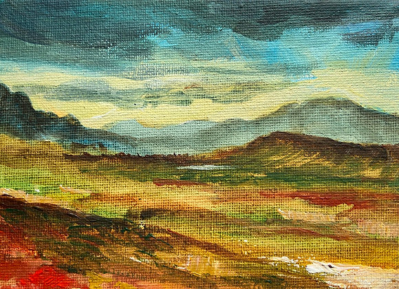 Across to Ben Hope from above Tongue, Sutherland  - Acrylic on canvas 12x16 cm
