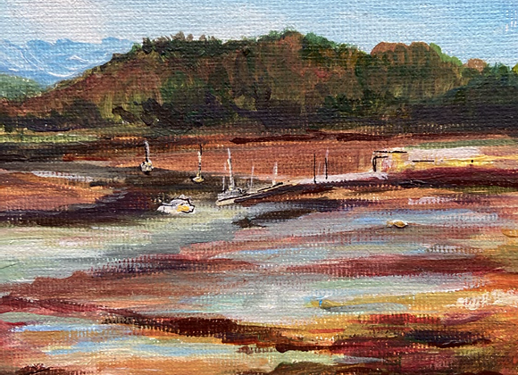 Autumn ove Kippford Bay - Acrylic on Canvas - 13 x18cm