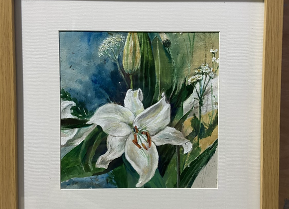 Lilies - Framed Acrylic on botanical hand made paper