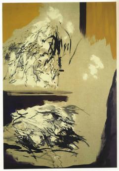 1992 130x97 encre noire pigments sur toile 1992