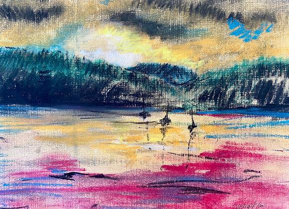 Kippford Sunset  framed original pastel drawing