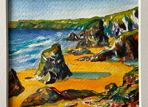 Bedruthen Steps - Cornwall   Framed Watercolour 13x13 cm(image size)