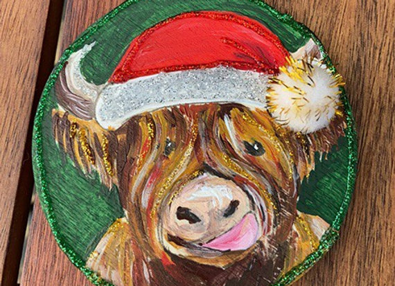 Hand painted Highland cow Christmas bauble