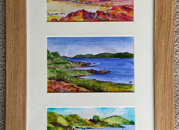 Rough Firth - framed trio of landscapes