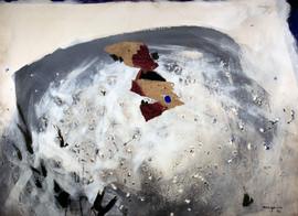 1993 91x73, collage decollage korean paper on canvas 1993
