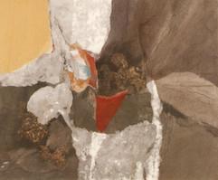 2002 sous le signe 72.5x60, collage, decollage, acrylic on korean paper 2002