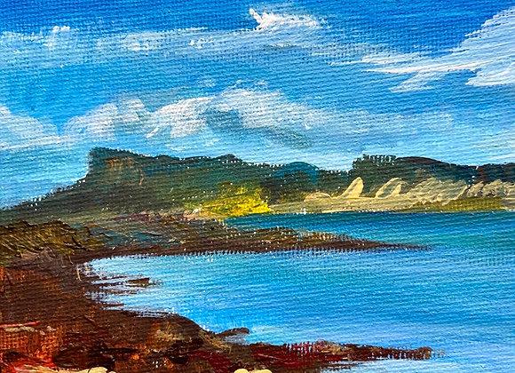 Eigg from Morar - Acrylic on canvas - 12 x 16 cm