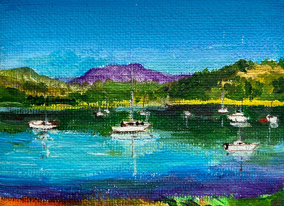 Screen Hill from Kippford (miniature) - Acrylic on canvas 7x9cm
