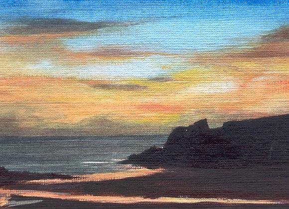 Porthcothan Sunset - Framed Limited Edition Print  - 28 x 23cm-