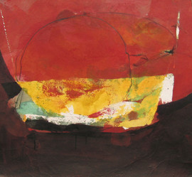2009 sunset, 52x69, acrylic on korean paper, 2009