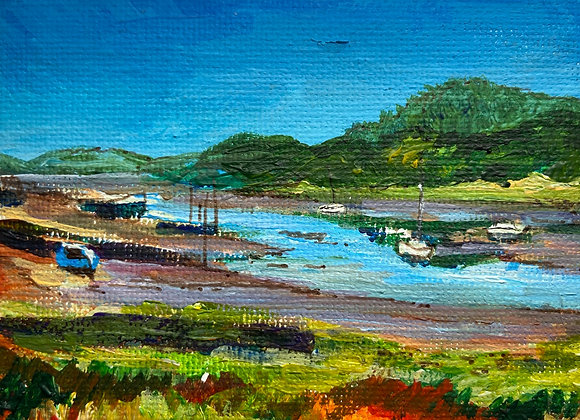 Out to Rough Firth (miniature) - Acrylic on canvas 7x9cm