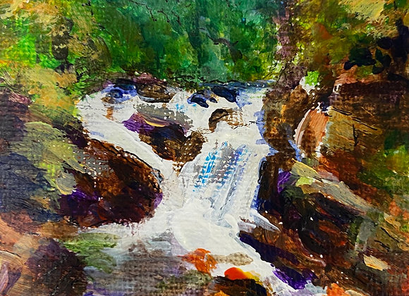 Rogie Falls (miniature) - Acrylic on canvas 7x9cm