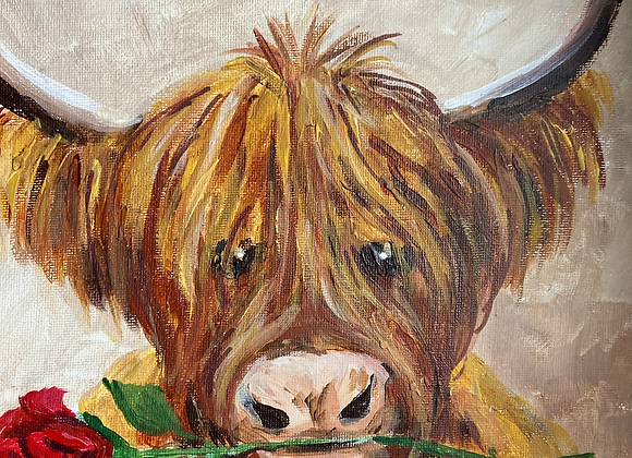 """Coo with a crimson rose - Acrylic on board  10 x 12"""""""