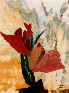 2003 Floral Image I, 35x47 collage, decollage, acrylic on korean paper, 2003