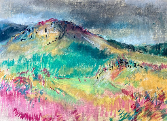 Screel Hill - framed original pastel drawing