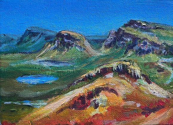 Trotternish Ridge from Quairaing - Acrylic on Canvas 12x16cm