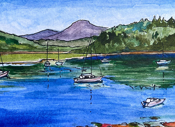 Summer at Kippford - framed original watercolour