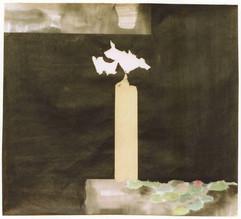 1988 96x69 l'oiseau, Black ink on korean paper 1988