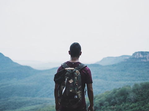 Hiking through mountains