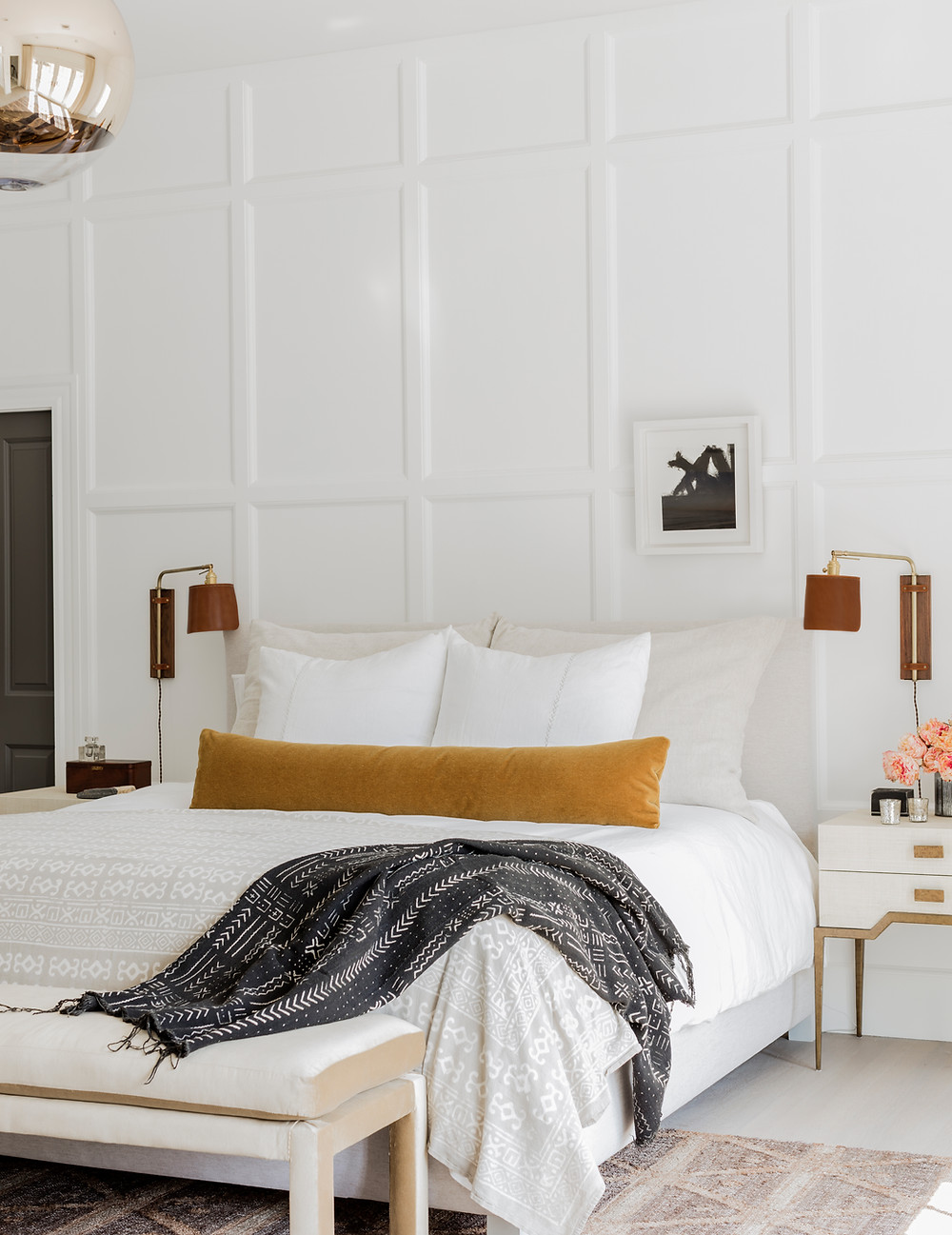 New paneling in the master bedroom.  Interior architecture and design by Lisa Tharp. Photography by Michael J. Lee.