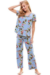Women's Pajama Short Sleeve And Pants Se