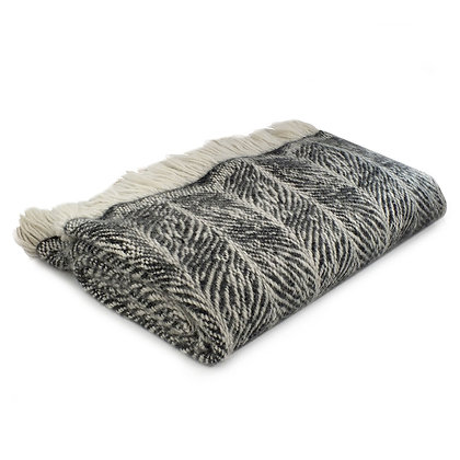 Smokey Handwoven Alpaca Wool Blanket