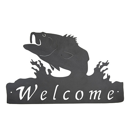 Jumping Bass Welcome Sign