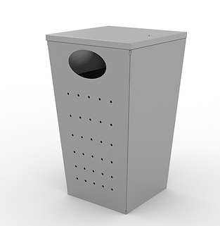 Zoid Trash Can - View 2 - Neutral (Silve