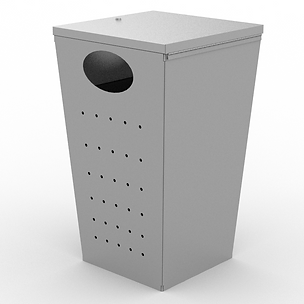 Zoid Trash Can - View 3 - Neutral (Silve