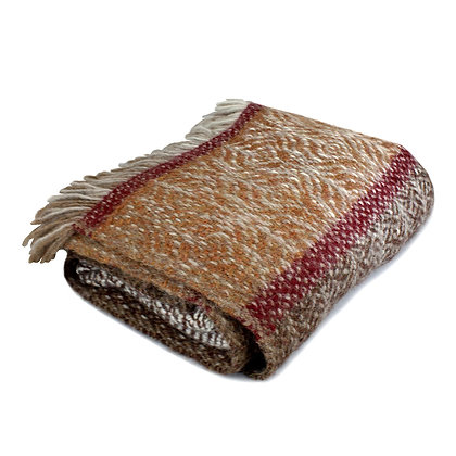 Brown Handwoven Alpaca Wool Blanket