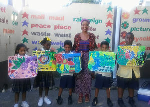 Ayesha Harrison and Sunflower Project students from Good Shepherd Tunapua Anglican Primary School
